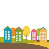 Casas coloridas, Autumn Theme Imagen de archivo libre de regalías