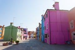 Casas coloridas Burano tradicionais, Veneza Foto de Stock