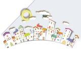 Casas coloridas circular da cidade ilustração stock