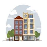 Casas coloridas de Amsterdão do vintage Apartamentos para o aluguel, venda, Real Estate Imagens de Stock Royalty Free