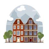 Casas coloridas de Amsterdão do vintage Apartamentos para o aluguel, venda, Real Estate Fotografia de Stock