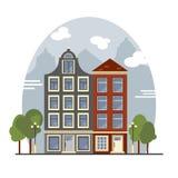Casas coloridas de Amsterdão do vintage Apartamentos para o aluguel, venda, Real Estate Fotos de Stock Royalty Free