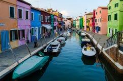 Casas coloridas de Burano Fotografía de archivo libre de regalías