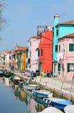Casas coloridas de Burano Fotografía de archivo