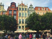 Casas coloridas de la calle Polonia de Gdansk Dluga Foto de archivo