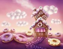 Casas coloridas de la fantasía stock de ilustración
