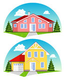 Casas coloridas de la historieta en el fondo blanco Fotos de archivo