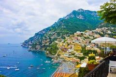 Casas coloridas de Positano, Itália fotografia de stock