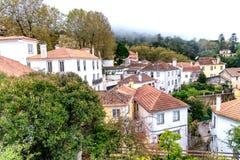 Casas coloridas de Sintra, cidade colorida perto de Lisboa, Portugal foto de stock royalty free
