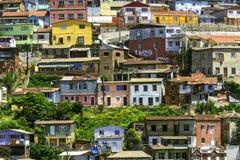Casas coloridas de Valparaiso Fotos de archivo libres de regalías