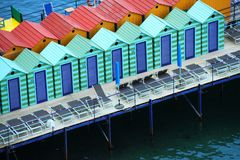 Casas coloridas del baño Foto de archivo