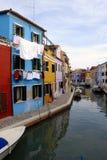 Casas coloridas em Burano Imagens de Stock Royalty Free