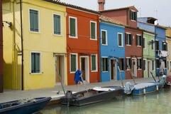 Casas coloridas em Burano Foto de Stock Royalty Free
