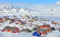 Casas coloridas em Gronelândia Fotografia de Stock Royalty Free