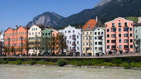 Casas coloridas em Innsbruck Foto de Stock