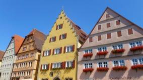 Casas coloridas em Rothenburg, Baviera, Alemanha imagens de stock