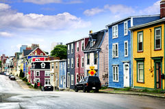 Casas coloridas em St. John Imagem de Stock
