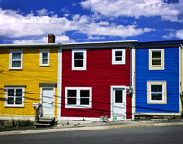 Casas coloridas em St. John Fotografia de Stock