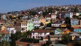 Casas coloridas em Valparaiso, o Chile Imagem de Stock