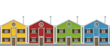 Casas coloridas en blanco Imagen de archivo