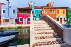 Casas coloridas en Burano, Venecia, Italia Fotografía de archivo libre de regalías