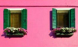 Casas coloridas en Burano, Venecia Italia Imagen de archivo
