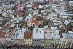 Casas coloridas en el centro de ciudad, Lviv, Ucrania Fotografía de archivo libre de regalías
