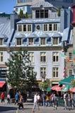 Casas coloridas en la ciudad de Quebec vieja Foto de archivo