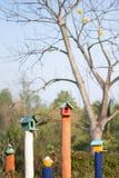 Casas coloridas lindas del pájaro con el fondo del árbol Fotos de archivo libres de regalías