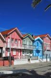 Casas coloridas listradas, Costa Nova, Beira Litoral, Portugal, EUR Imagem de Stock