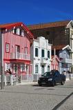 Casas coloridas listradas, Costa Nova, Beira Litoral, Portugal, EUR Fotos de Stock