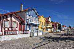 Casas coloridas listradas, Costa Nova, Beira Litoral, Portugal, EUR Foto de Stock Royalty Free