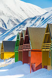 Casas coloridas, Longyearbyen, Spitsbergen, Svalbard, Noruega fotografia de stock