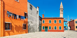Casas coloridas na ilha de Burano, Itália Imagem de Stock