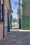 Casas coloridas na ilha de Burano, Veneza, Itália Fotografia de Stock