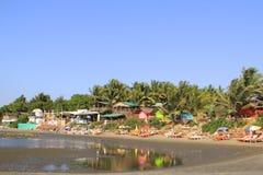 Casas coloridas em Ashvem, Goa Imagem de Stock
