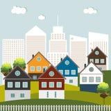 Casas coloridas para el alquiler de la venta Concepto 6 de las propiedades inmobiliarias Imágenes de archivo libres de regalías