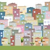 Casas coloridas para el alquiler/la venta Concepto 6 de las propiedades inmobiliarias Imagen de archivo libre de regalías