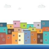 Casas coloridas para la venta/el alquiler Casas de las propiedades inmobiliarias?, planos para la venta o para el alquiler Imagen de archivo