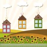Casas coloridas para la venta/el alquiler Casas de las propiedades inmobiliarias?, planos para la venta o para el alquiler Foto de archivo libre de regalías