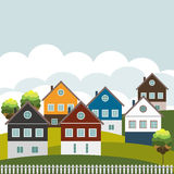 Casas coloridas para la venta/el alquiler Concepto 6 de las propiedades inmobiliarias Fotos de archivo libres de regalías