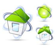 Casas com anéis da órbita ilustração stock