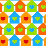 Casas com fundo sem emenda dos indicadores do coração Fotografia de Stock