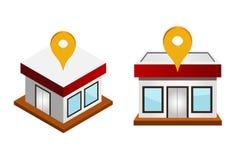 Casas con el perno del mapa Imágenes de archivo libres de regalías