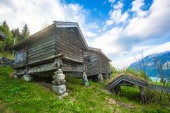 Casas con el tejado de la hierba en una granja noruega vieja fotos de archivo