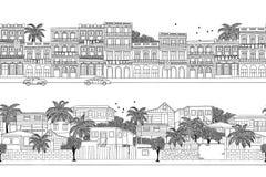 Casas cubanas e vila das caraíbas ilustração royalty free