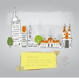 Casas da cidade e grupo da construção Imagens de Stock