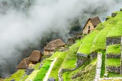 Casas da guarda em Machu Picchu, vale sagrado, Peru imagem de stock