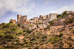Casas da torre em Vathia Grécia Mani Peninsula imagem de stock royalty free