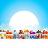 Casas da vila dos desenhos animados no inverno Imagens de Stock